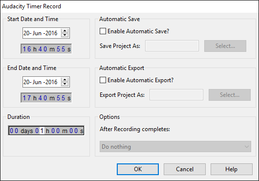 The Timer Record dialog, click for details of usage.