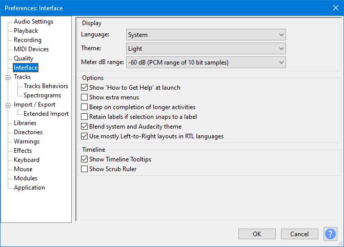 Interface Preferences - Audacity Manual