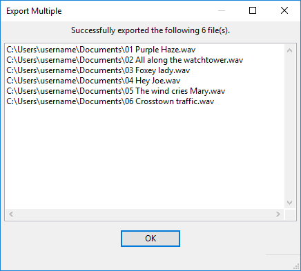 Export Multiple - Audacity Manual