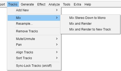audacity stereo to mono