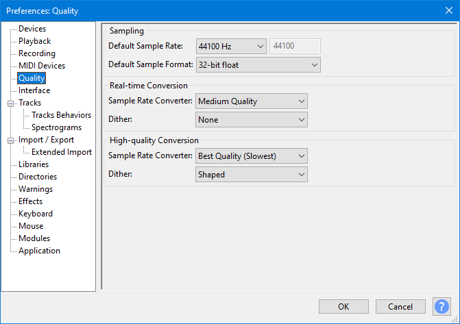 Quality Preferences - Audacity Manual