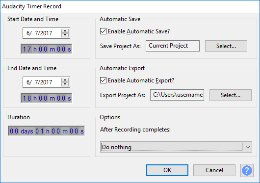 the period of a recording timer Accessed by: transport menu timer record before you start before you start a timer record session it is very important that you make all necessary settings in audacity as while a timer record session is in progress, including in the period while audacity is waiting to start the recording.