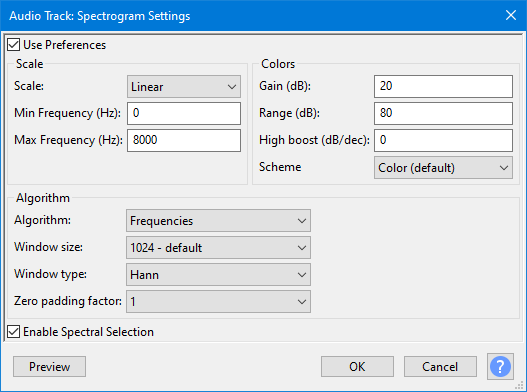 Spectrogram Settings - Audacity Manual