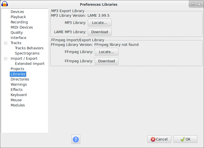 biblioteca lame mp3 audacity