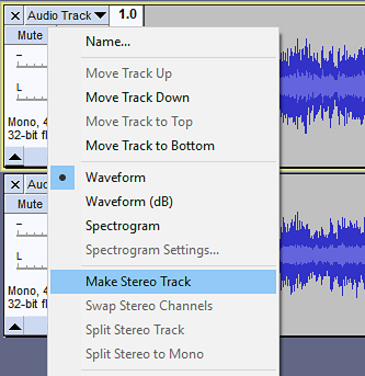 Splitting and Joining Stereo Tracks - Audacity Manual