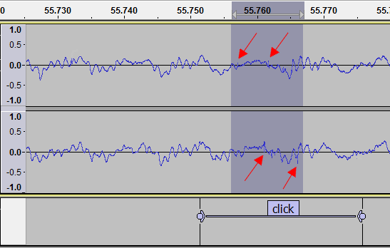 Clicky example waveform view click labelled and zoomed red arrows.png